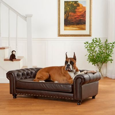 Pleasing Enchanted Home Pet Faux Leather Wentworth Sofa In Brown Machost Co Dining Chair Design Ideas Machostcouk