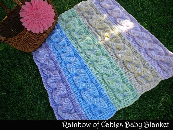 Rainbow of Cables Baby Blanket Knitting Pattern   Pinterest   Tejido ...