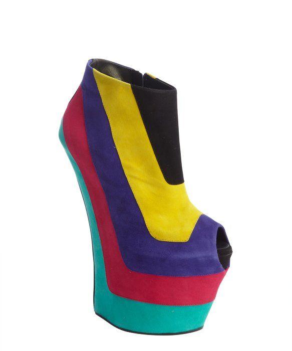 a799f5a221ffa Giuseppe Zanotti rainbow color block peep tow platform wedges | My ...