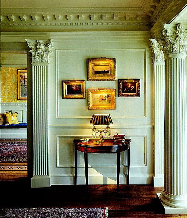 Interior Foyer Columns : Roman corinthian fluted tapered wooden columns