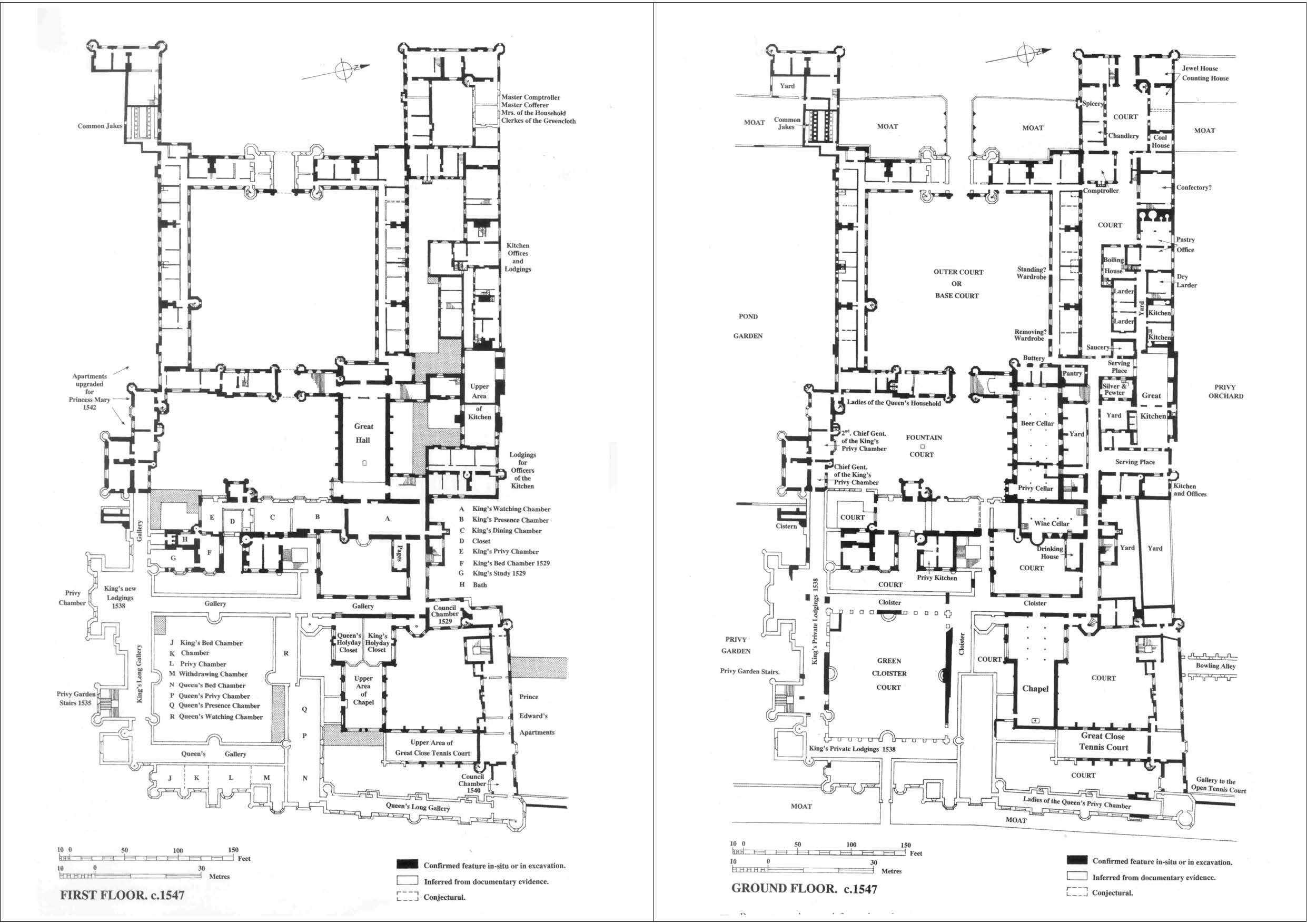 Hampton court palace floorplans under king henry viii for Palace plan