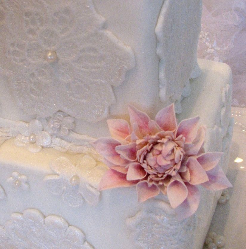 Wedding Cake 101 An Introduction To Wedding Cakes: Handmade Lace Molds From Actual Wedding Dress Adorn This