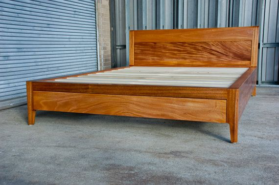 Mahogany Platform Bed No 2 A Modern Wood Storage Bed With Etsy Rustic Storage Bed Bed Designs With Storage Bed Frame With Storage