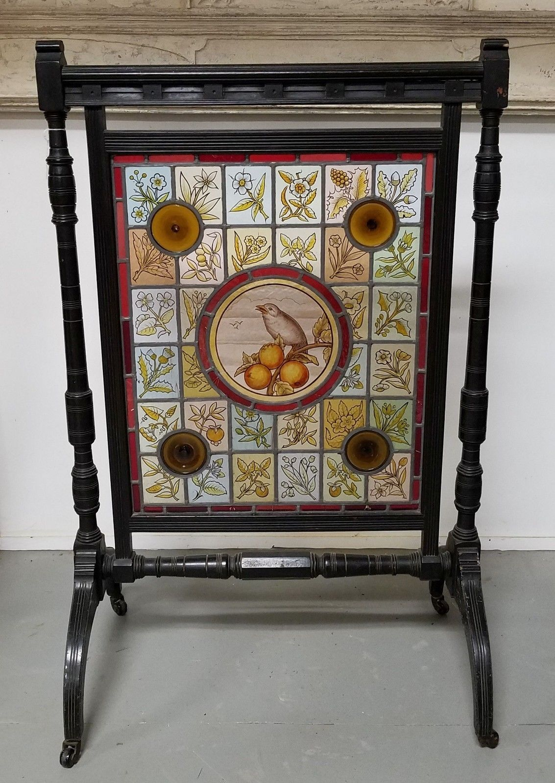 Antique Aesthetic Stained Glass Fireplace Screen With Ebonized