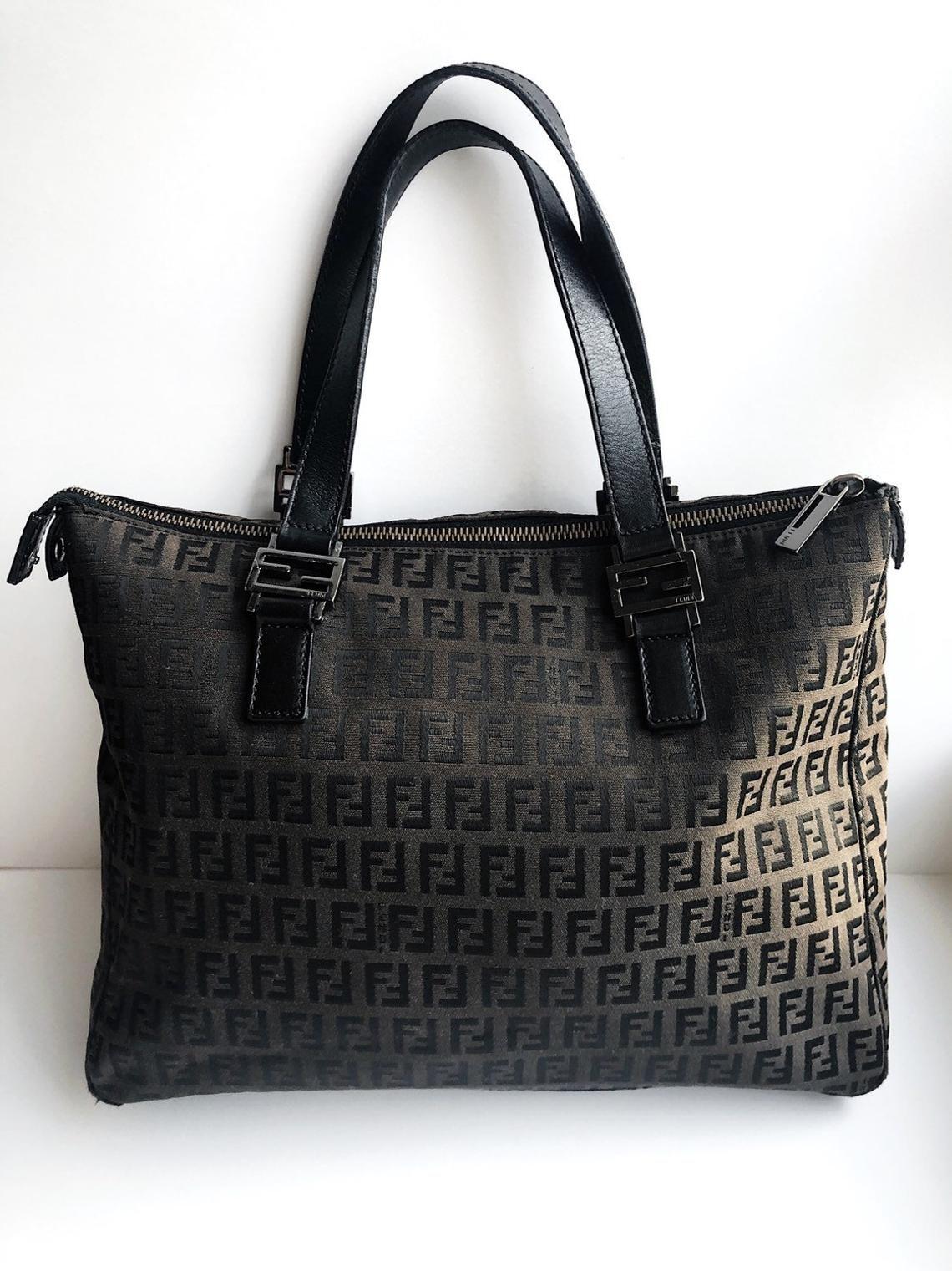 FENDI vintage Zucca logo handbag / monogram print black