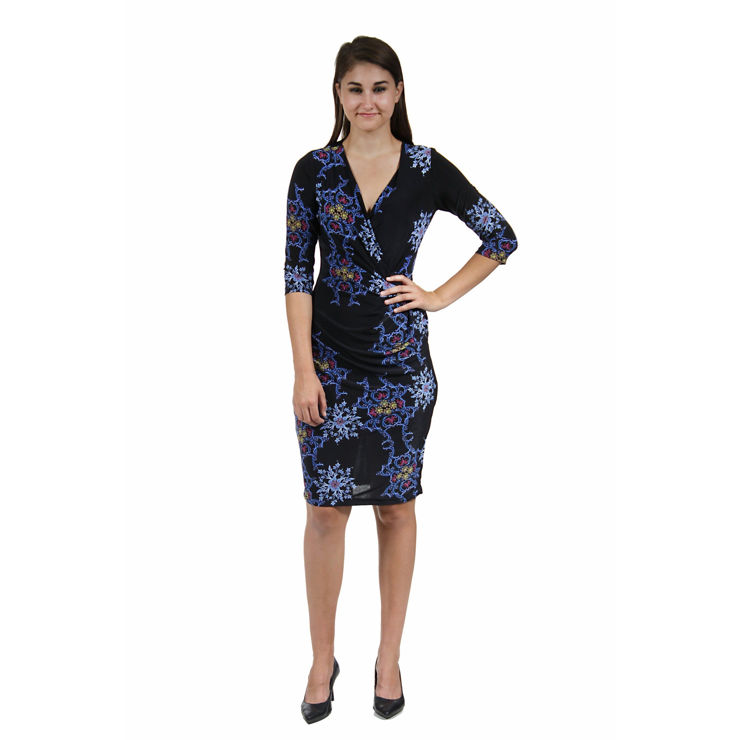 24/7 Comfort Apparel Women's Blue and Fall Floral Dress