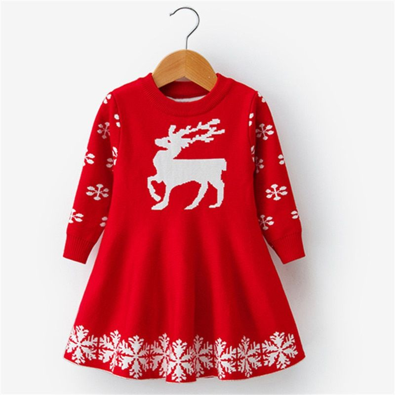 Kids Girls Striped Deer Long Sleeve Dress Skater Skirts Toddler Christmas Outift