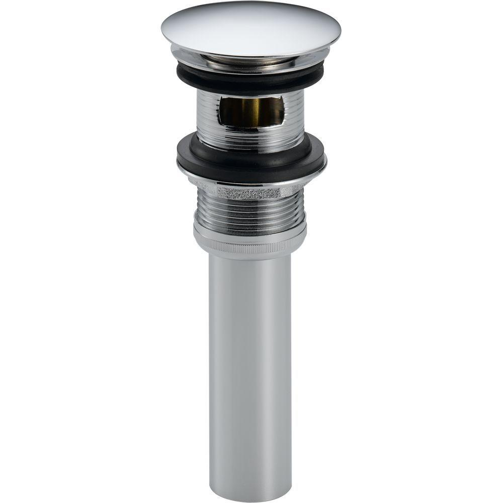 Delta Push Pop Up Drain Assembly In Chrome With Overflow Holes 72173 The Home Depot Faucet Repair Delta Faucets Sink Drain