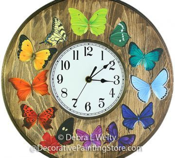 The Decorative Painting Store: Butterfly Clock Pattern by Debra L Welty