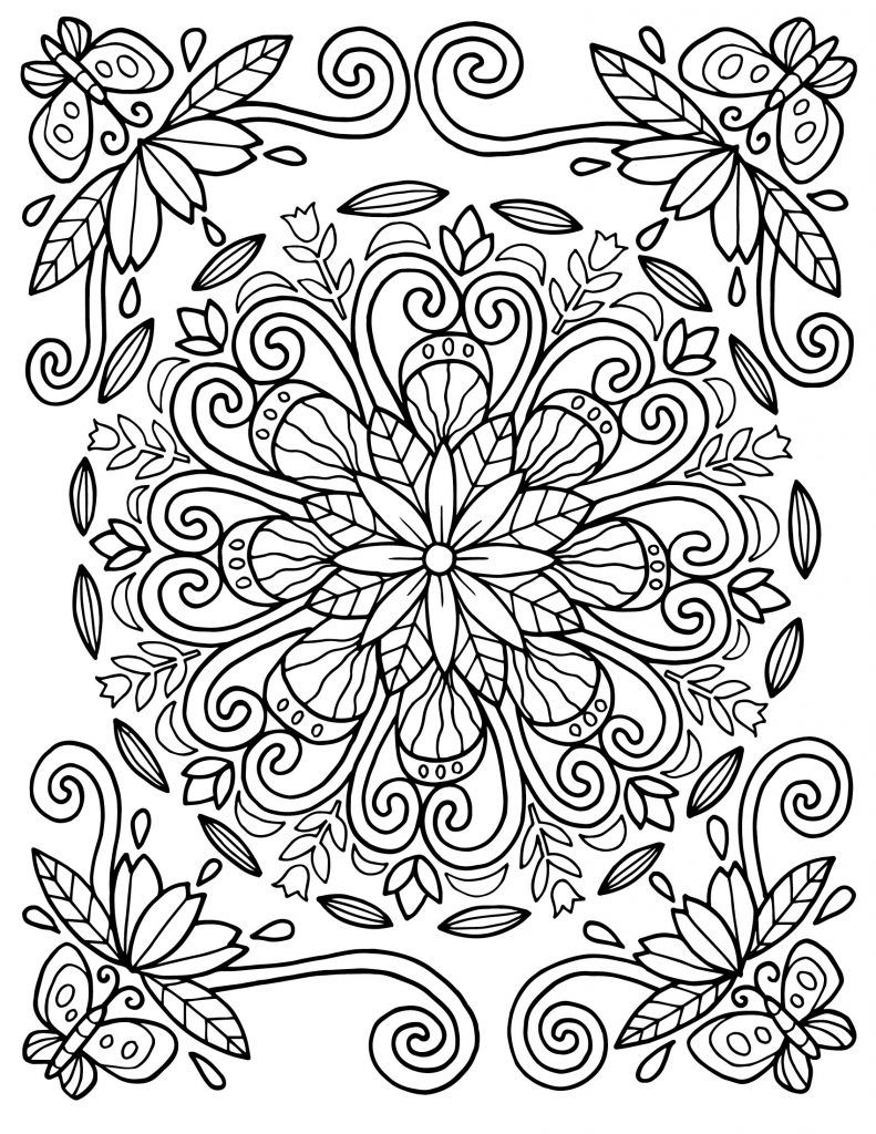 Floral Coloring Pages For Adults Spring Coloring Pages Mandala