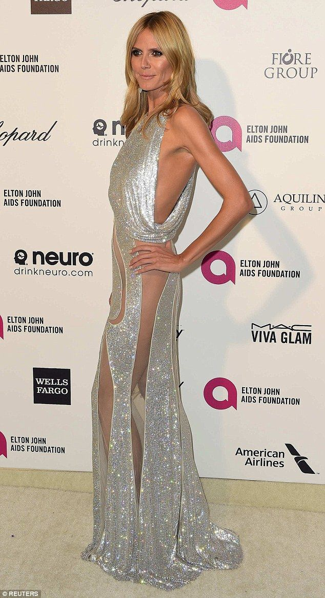 Heidi Klum Flaunts Curves In A Very Revealing Sheer Sparkling Gown  Silver Belles -1790