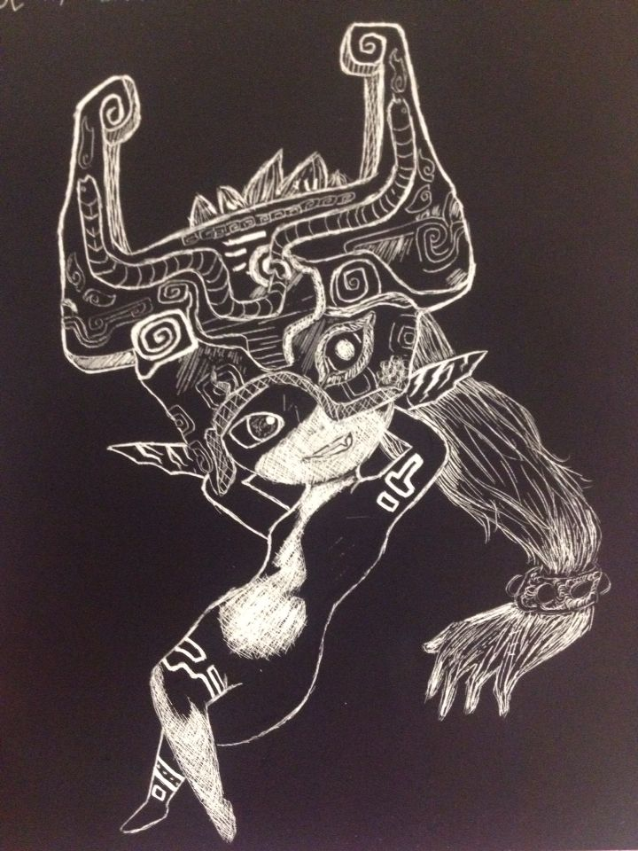 this is a project for drawing and design class a scratchboard drawing of midna from the legend of zelda