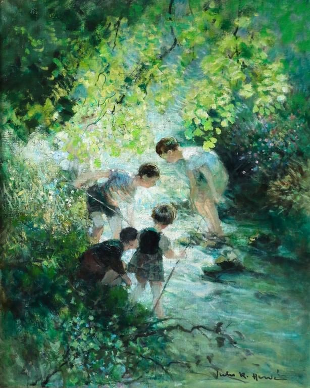 Children Playing In The Stream 1 Kids Playing Gorgeous Art Boy Illustration