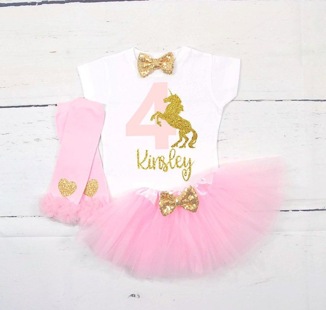 Unicorn Fourth Birthday Outfit 4th Shirt Girls By