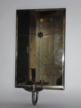 Star Mirror Antiqued Glass Mirrored Sconce Price Reflects ... on Non Wired Wall Sconces id=20179