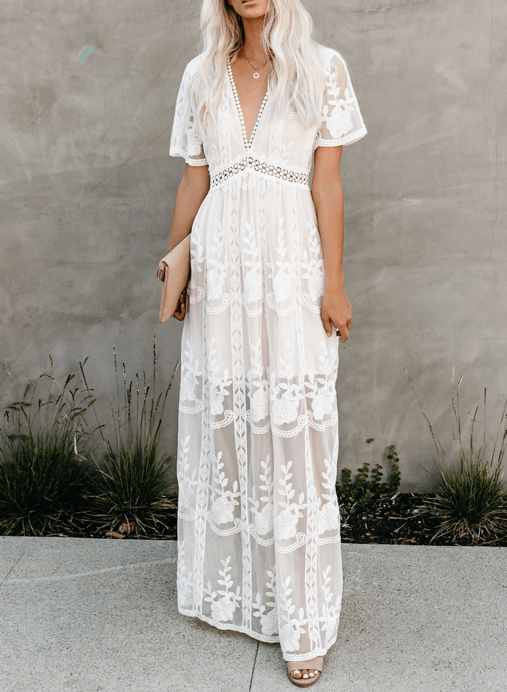 V Neck Lace Maxi Dress Acelitt Lace Dress Boho Lace Maxi Dress Lace White Dress [ 1500 x 1100 Pixel ]