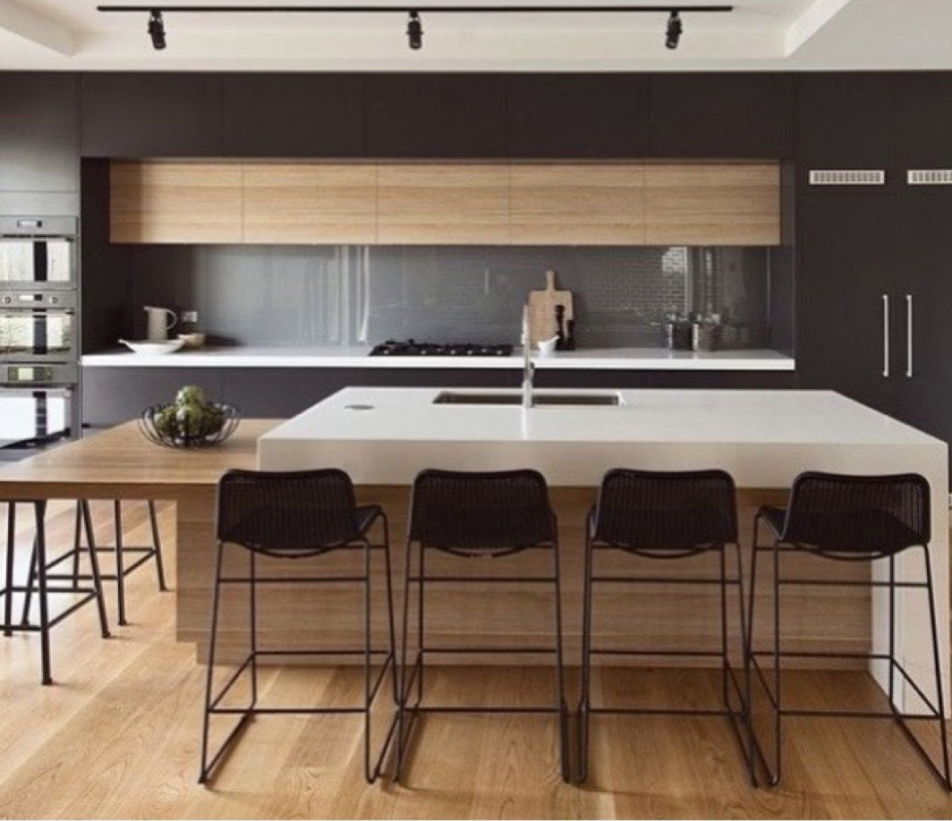 Beautiful Minimal Kitchen Design In Black White And Wood Black Kitchen Decor Kitchen Interior Minimal Kitchen Design