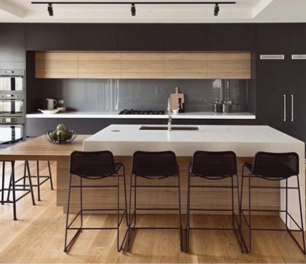 Beautiful Minimal Kitchen Design In Black White And Wood Kitchen