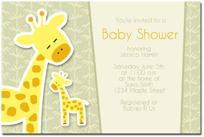 Superb Giraffe Baby Shower Invitation