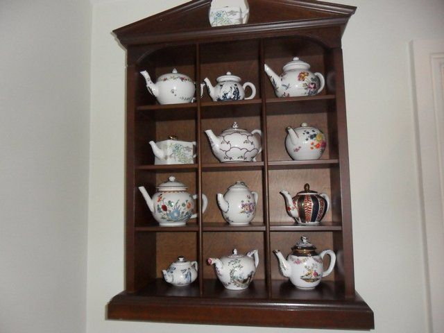 Porcelain Tea Pot Collection With Display Cabinet Tea