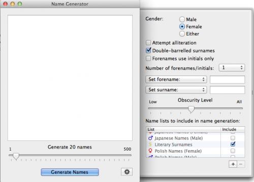 Scrivener Quick Tips Using The Name Generator Generators Writing