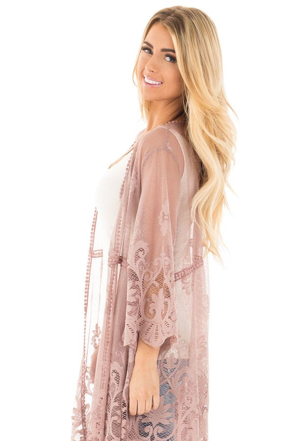 3431768042f Lime Lush Boutique - Mocha 3/4 Sleeve Floral Lace Kimono Open Cardigan,  $39.99