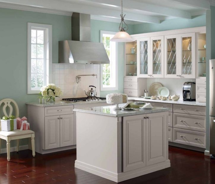 white kitchen cabinets blue walls distressed with  wall modern