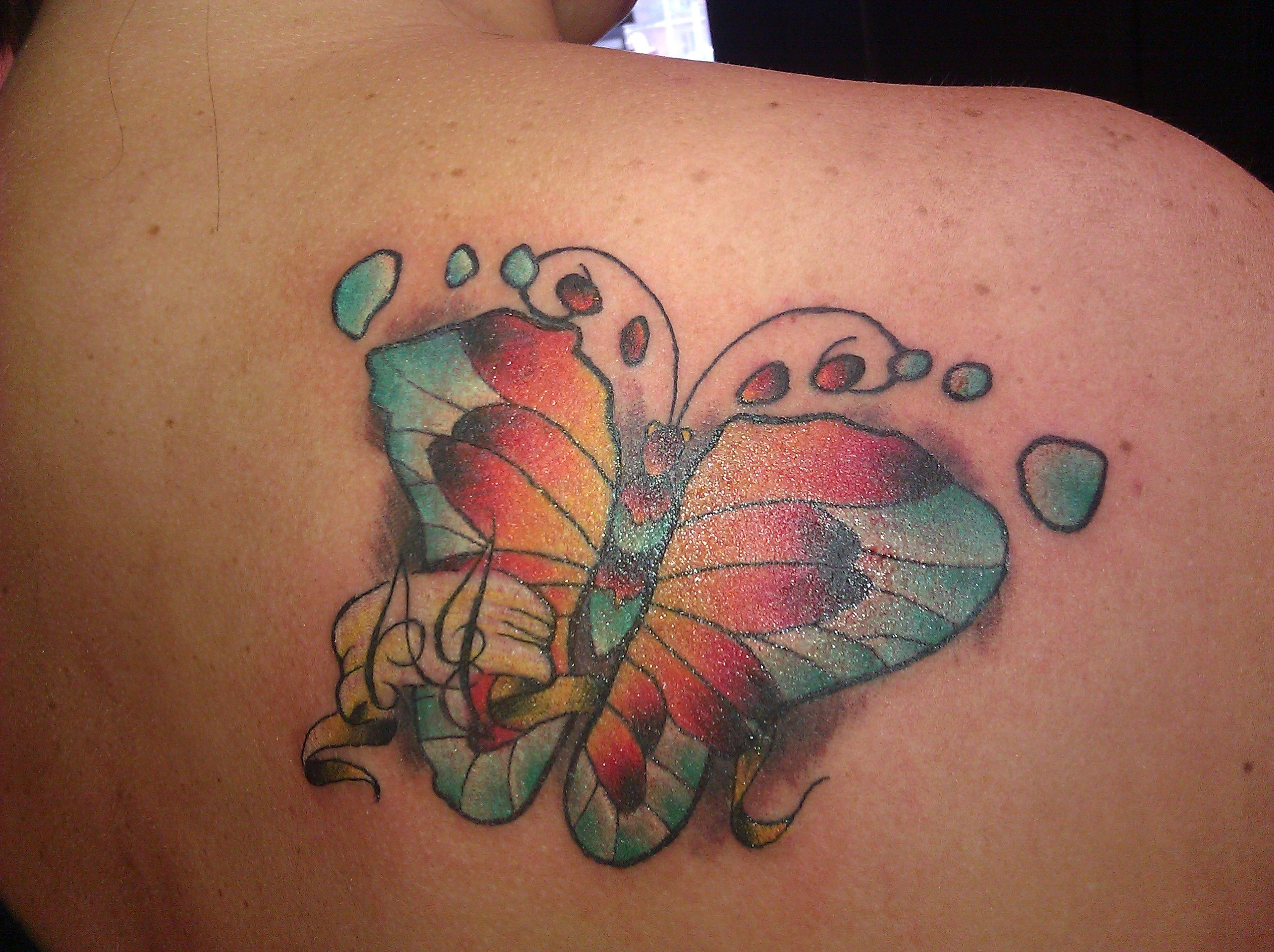 I love my butterfly tattoo, it is made from my 2nd son's