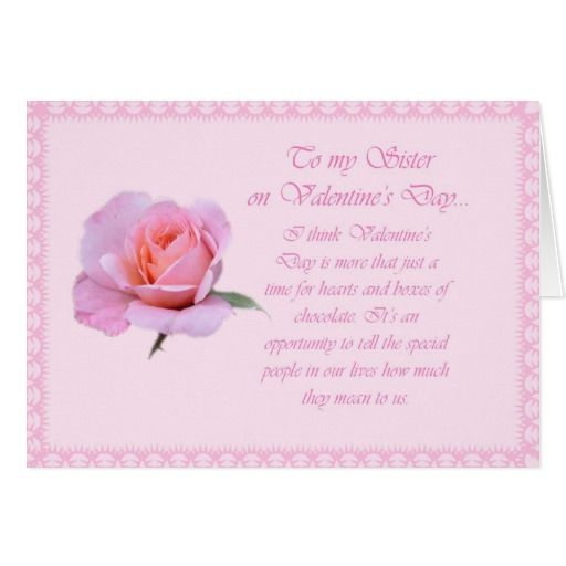 Happy Valentines Day Sister Holiday Card Zazzlecom Quotes