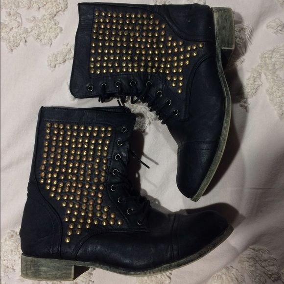 Black Studded Combat Boots LIGHTLY USED Black combat boots with bronze studs Shoes Combat & Moto Boots
