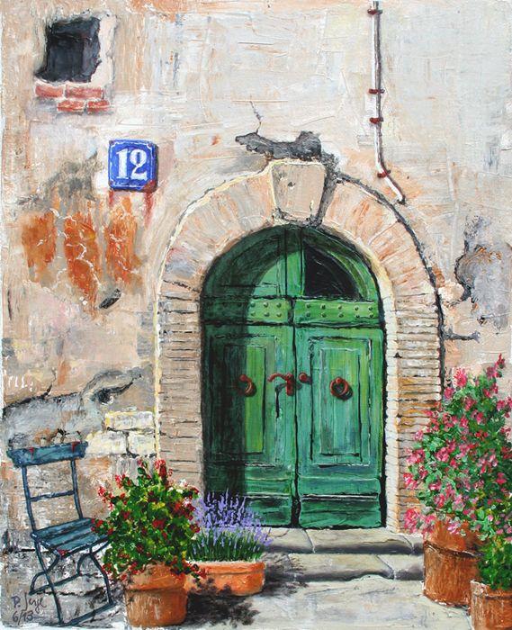 Altstadt Italien Baumbilder Acrylbilder Acrylmalerei