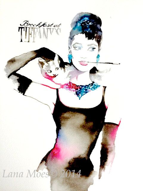 "Breakfast at Tiffany's Original Watercolor Painting  by LanasArt - WINTER SALE: use coupon code ""ART2014"" for 10 % off on any item from my shop!"