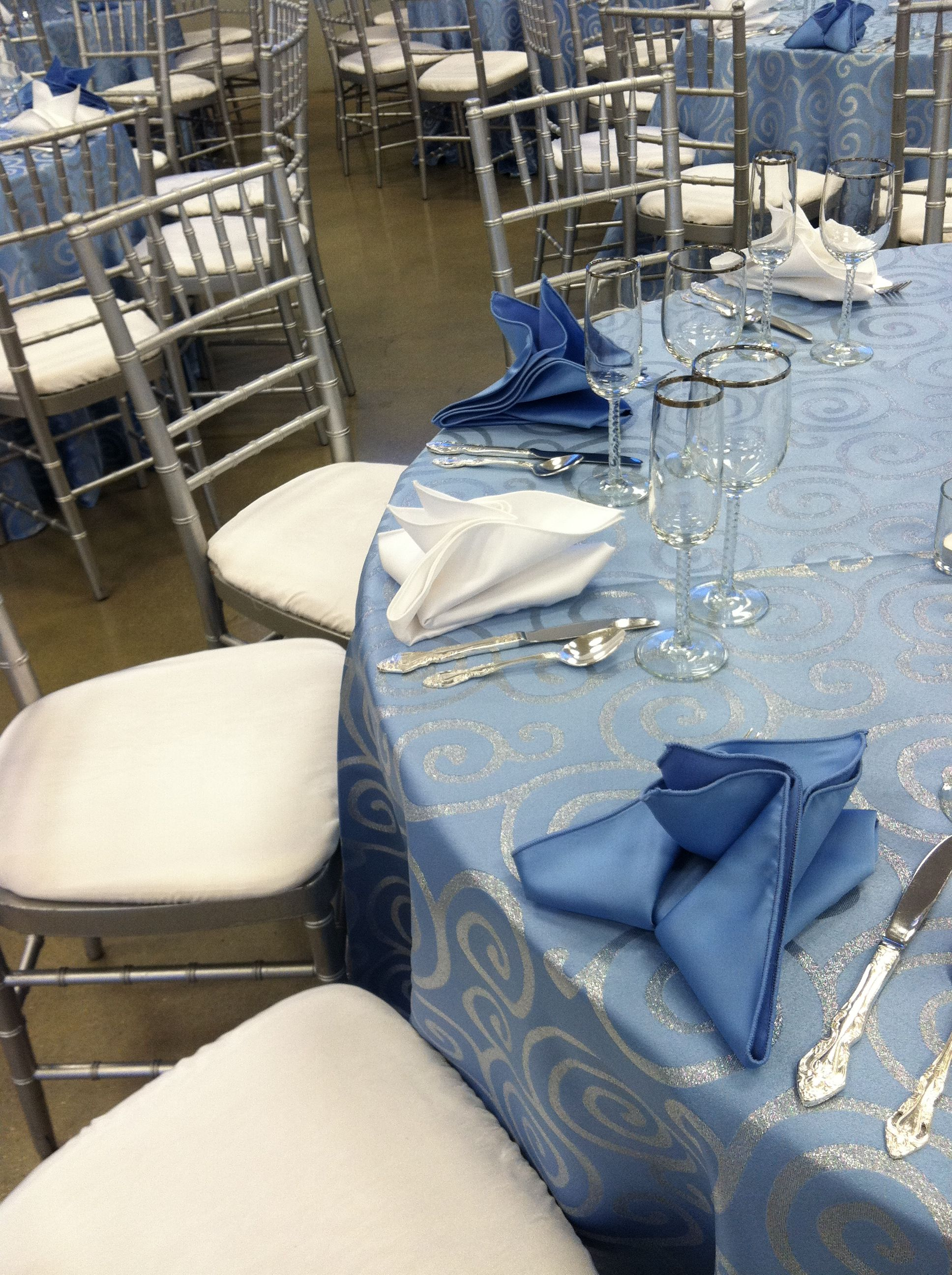 Light Blue Metallic School linen, Silver Chiavari Chairs