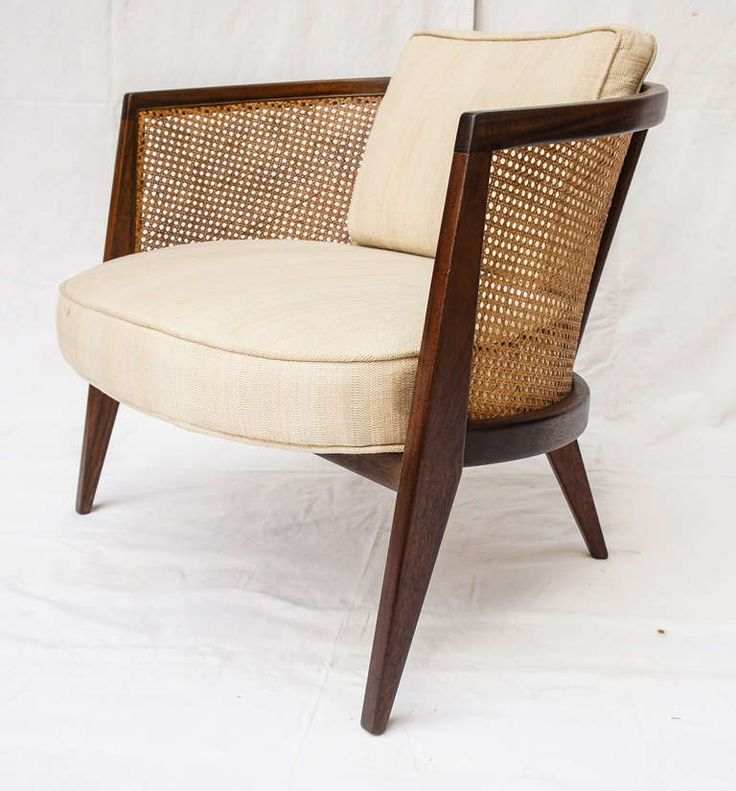 Gentil Mid Century Modern Vintage Cane Barrel Chair