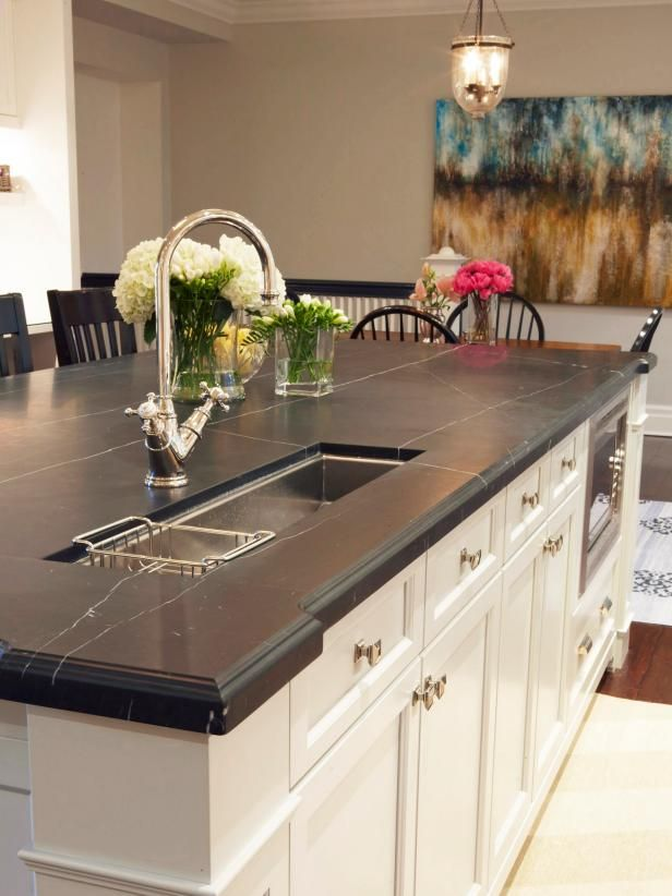 Black Marble Island Countertop In Transitional Kitchen Kitchen Countertop Choices Kitchen Island With Sink Kitchen Marble