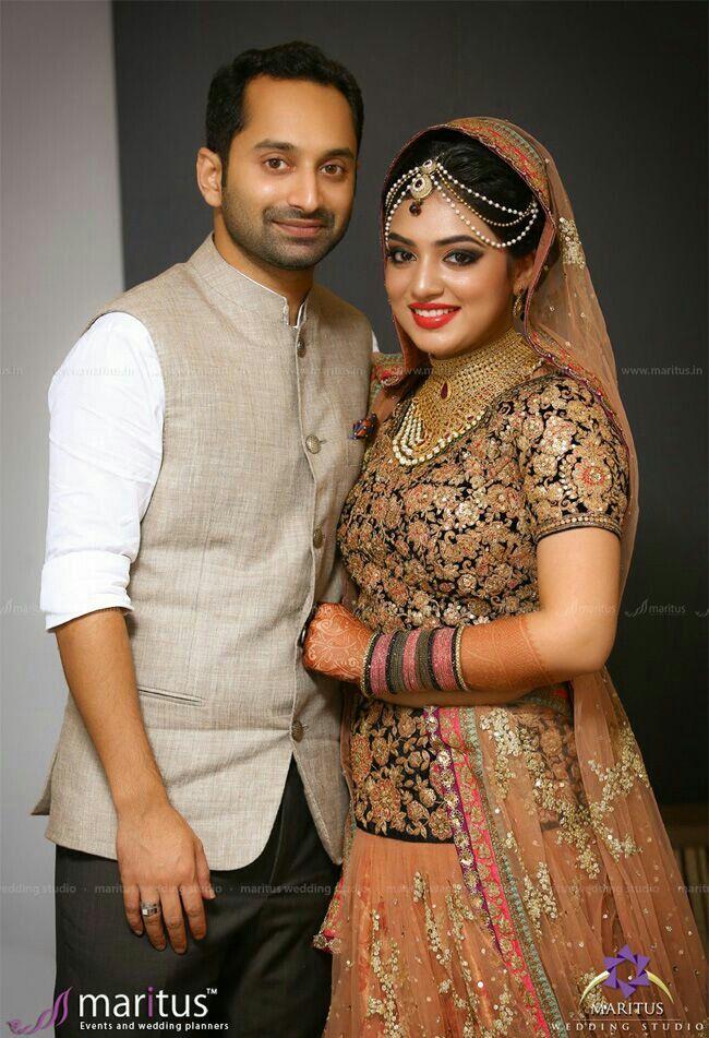 Nazriya fahad Muslim Brides, Muslim Couples, Christian Bridal Saree, Indian Wedding Jewelry,