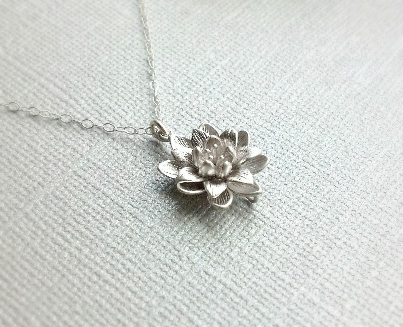 Silver Lotus Flower Necklacesimple Everyday Necklacesterling