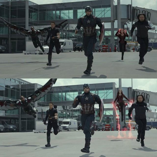 Bucky just derps, scarlet witch decided to fly, Clint decided to be cool, cap is booking it