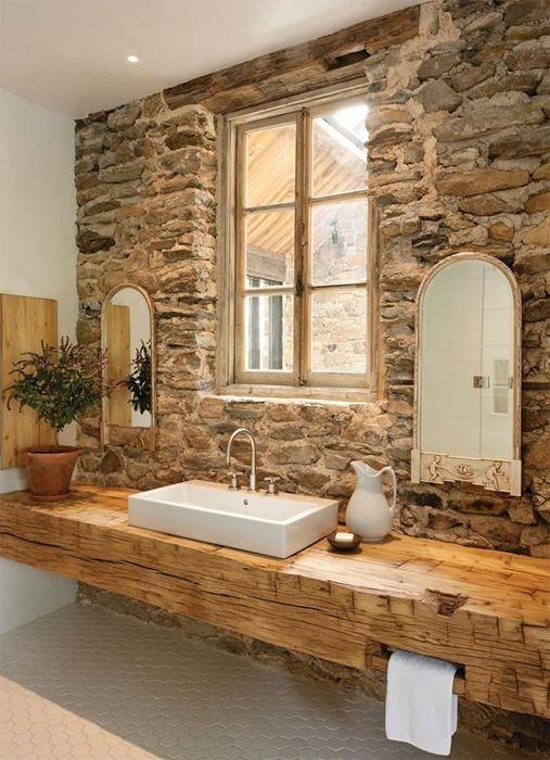 Bonito baño rustico  Para la casa  Pinterest  Heno y ...