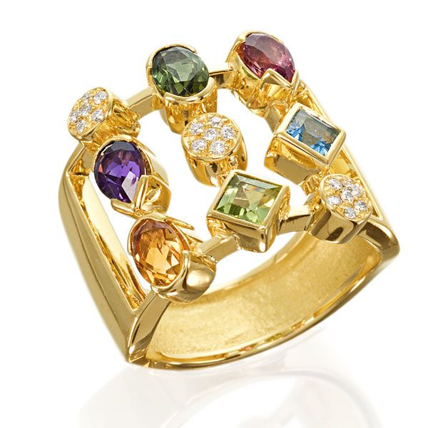MultiColored Gemstone Rings Amsterdam Sauer Rings Palette