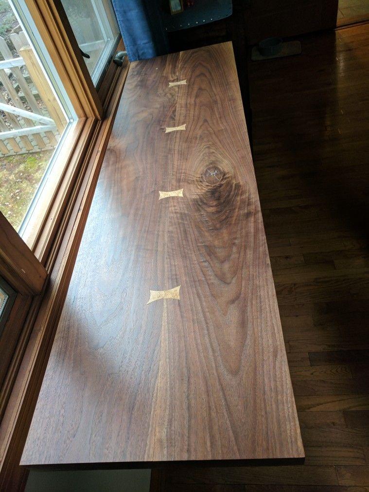 Black walnut table with birdseye maple splines | Wood ...