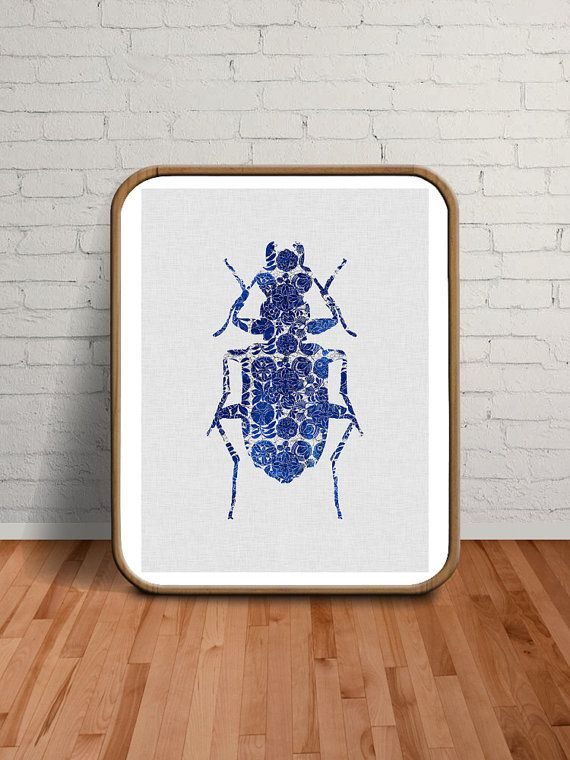 Wall Art Modern Blue Insect Prints Modern by paperpixelprints