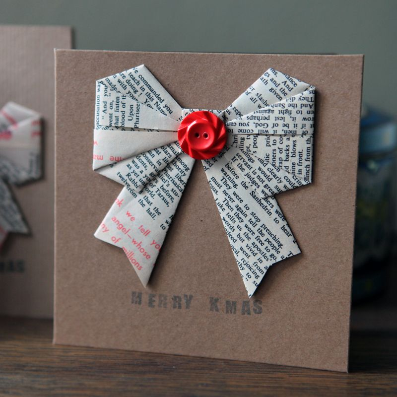 Preview Image For Christmas Card Origami Bow Origami Pinterest
