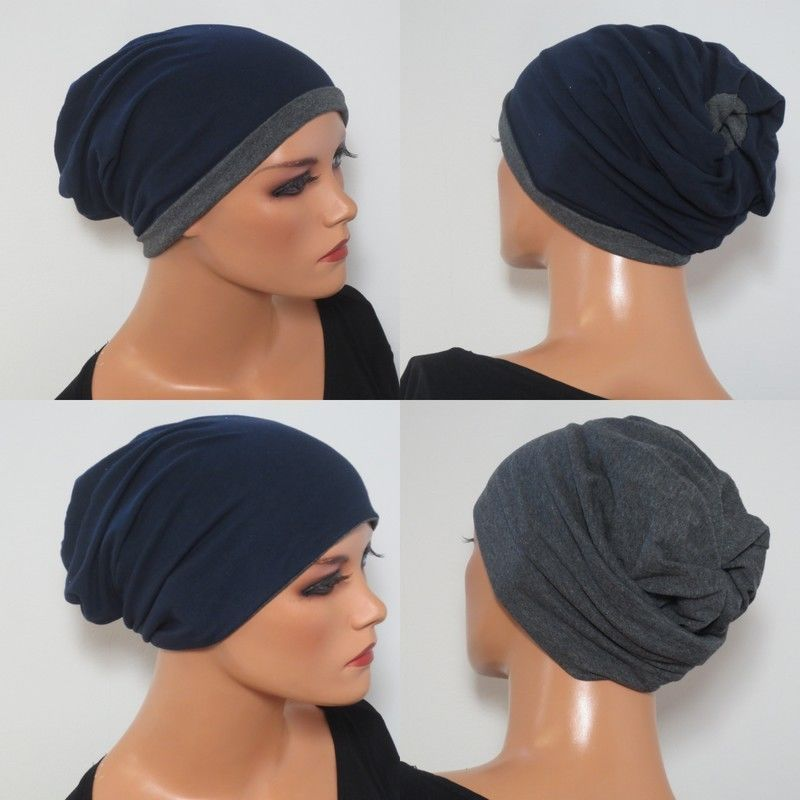 2in1volumenbeanie Grau Blau Chemo Mütze Haarausfall Perücke Chemo Mützen Perücken Chemo