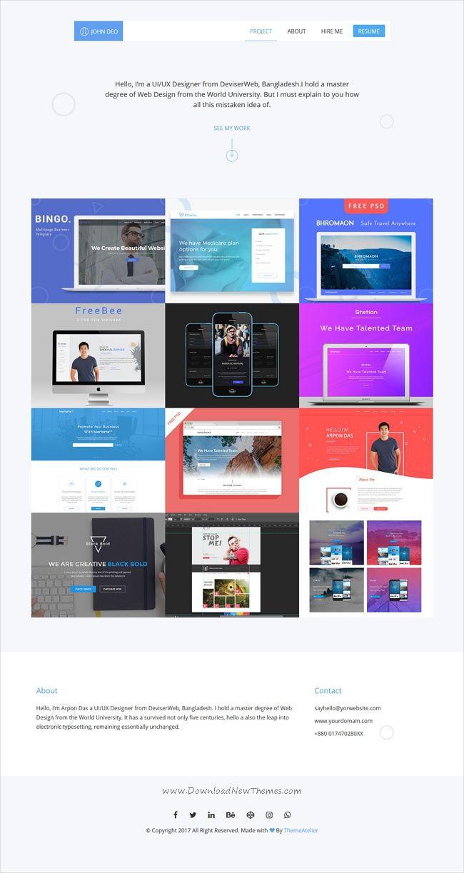 DESIGNER - UI & UX Designers Portfolio HTML Template | Ux designer ...