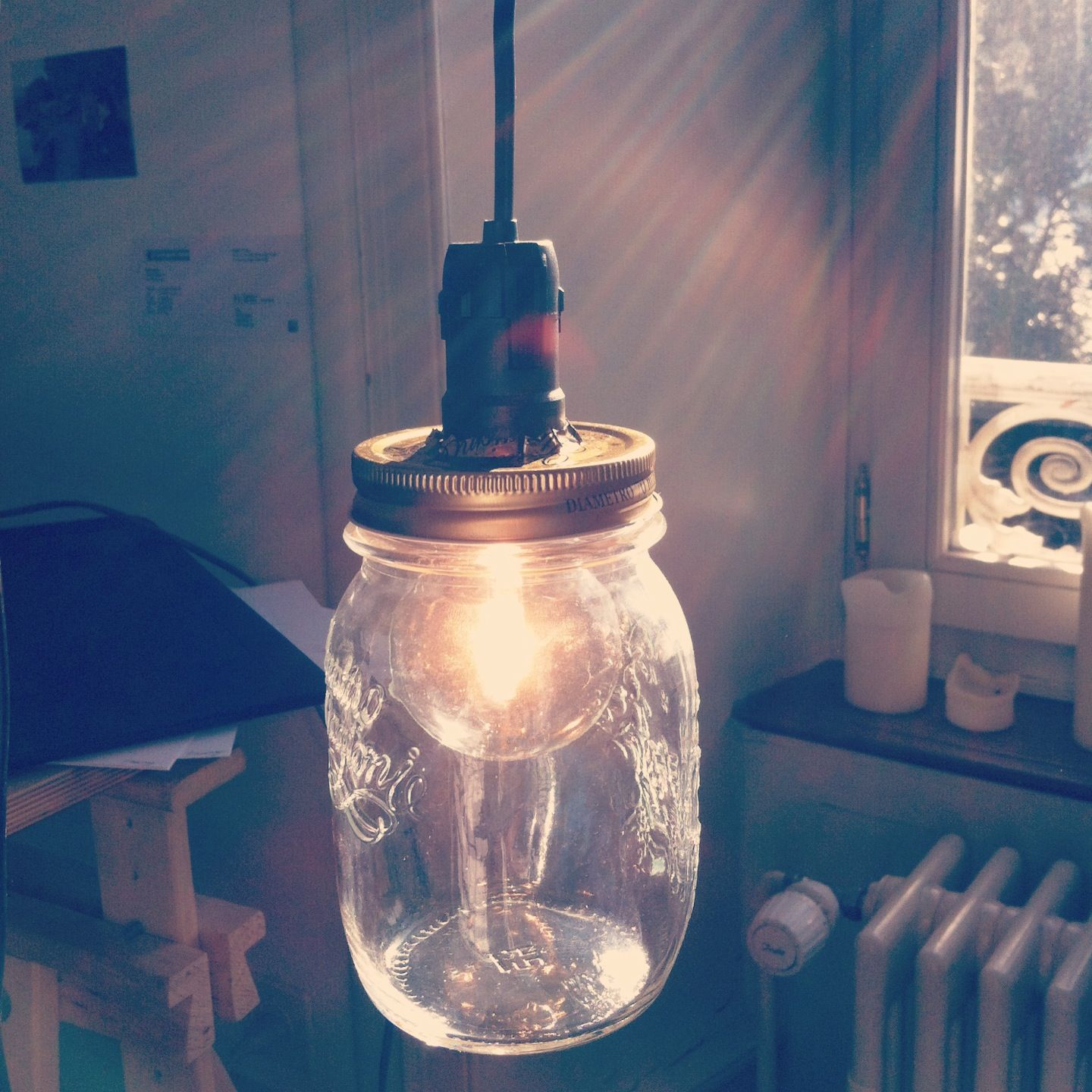 light bulb in a glas. selfmade lamp ::by fanny oppler
