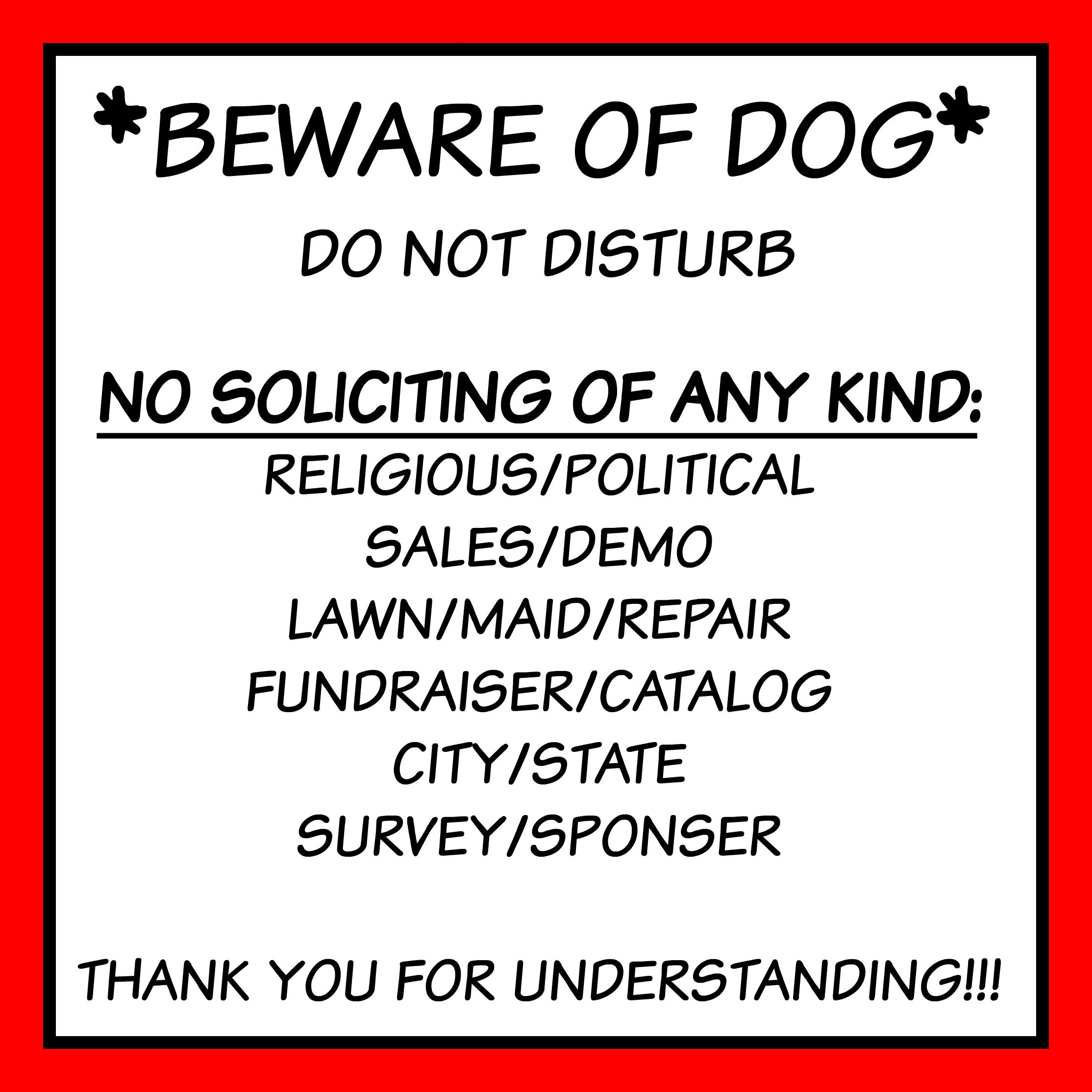 picture about No Soliciting Printable titled free of charge entrance doorway indicator printable beware of puppy no soliciting