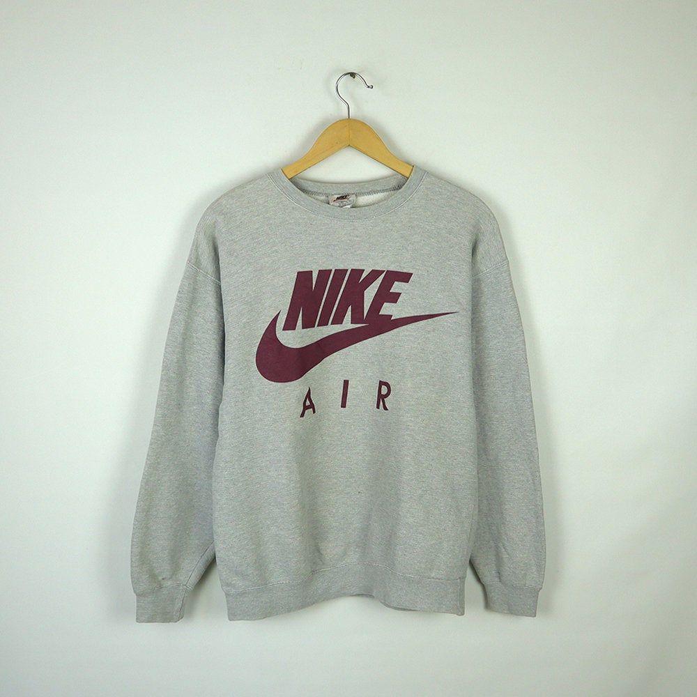 Vintage 90s Nike Air Crewneck Sweatshirt Pullover Jumper Nike Big Logo Size M Medium Pullover Sweatshirts Crew Neck Sweatshirt Sweatshirts [ 1000 x 1000 Pixel ]