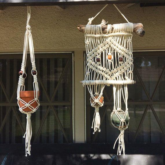 Beaded macrame plant hanger by LetsMakeCoolStuff on Etsy