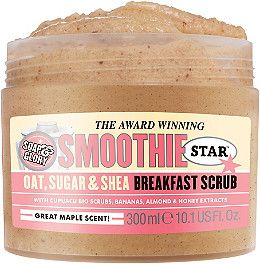 The Breakfast Scrub from Soap & Glory is an award-winning, skin-smoothing oat, shea butter and sugar body smoother with a great maple scent..